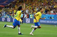 1:0 Jubel v.l. Marcelo, Torschuetze Philippe Coutinho (Brasilien)<br /> Rostow am Don, 17.06.2018, FIFA Fussball WM 2018 in Russland, Vorrunde, Brasilien - Schweiz<br /> Brazil - Sveits<br /> Norway only