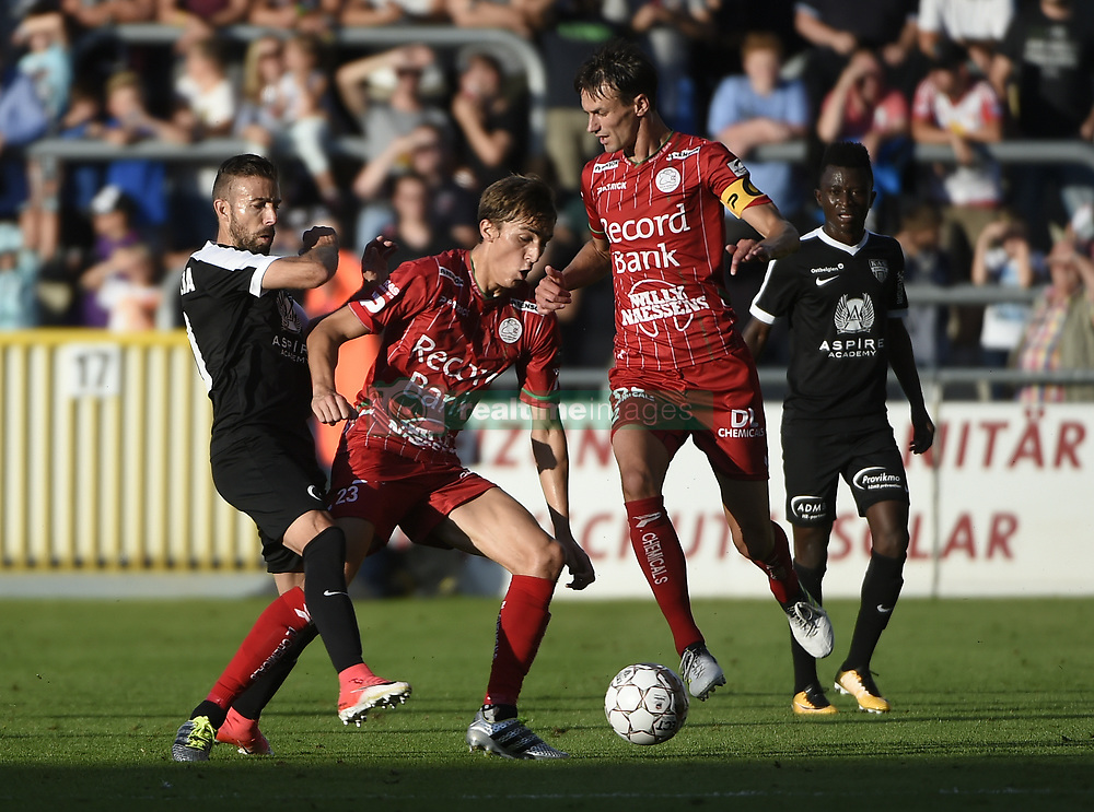 July 29, 2017 - Eupen, BELGIUM - Eupen's Luis Garcia and Essevee's Julien De Sart fight for the ball during the Jupiler Pro League match between KAS Eupen and SV Zulte Waregem, in Eupen, Saturday 29 July 2017, on the first day of the Jupiler Pro League, the Belgian soccer championship season 2017-2018. BELGA PHOTO JOHN THYS (Credit Image: © John Thys/Belga via ZUMA Press)
