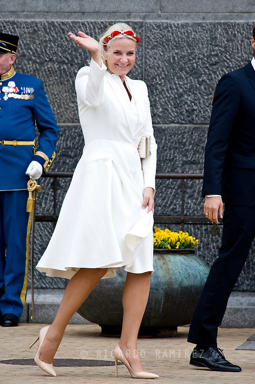 16.04.2015. Copenhagen, Denmark.<br /> Princess Mette-Marit of Norway arrive to the Town Hall during festivities for the 75th birthday of Queen Margrethe II of Denmark.<br /> Photo:© Ricardo Ramirez