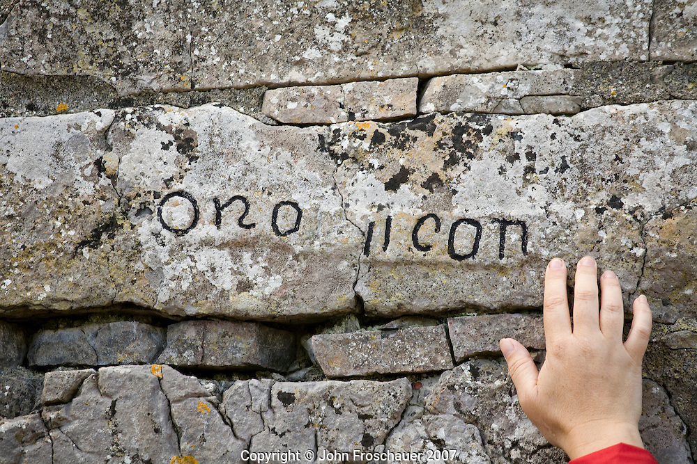 Letters in stone on the ruins of Seven Churches dating from the 8th to the 11th century on Inishmore, Aran Island, Co. Galway, Ireland. on Tuesday, July 3, 2007. (Photo/John Froschauer)