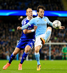 Gael Clichy of Manchester City is closed down by Domagoj Vida of Dynamo Kyiv  - Mandatory byline: Matt McNulty/JMP - 15/03/2016 - FOOTBALL - Etihad Stadium - Manchester, England - Manchester City v Dynamo Kyiv - Champions League - Round of 16