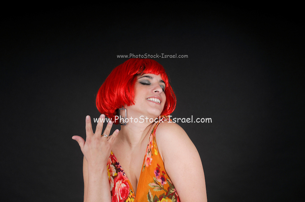 exhilarated woman with red hair