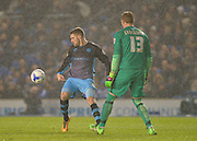 Sheffield Wednesday striker Gary Hooper (14) and Brighton goalkeeper, David Stockdale (13) during the Sky Bet Championship match between Brighton and Hove Albion and Sheffield Wednesday at the American Express Community Stadium, Brighton and Hove, England on 8 March 2016. Photo by Adam Rivers.