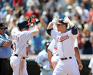 Cleveland Indian Grady Sizemor, right, is congratulated by Asdrubal Cabrera after hitting a home run...The Cleveland Indians defeated the Detroit Tigers 9-4 on Thursday, July 31, 2008 at Progressive Field in Cleveland.