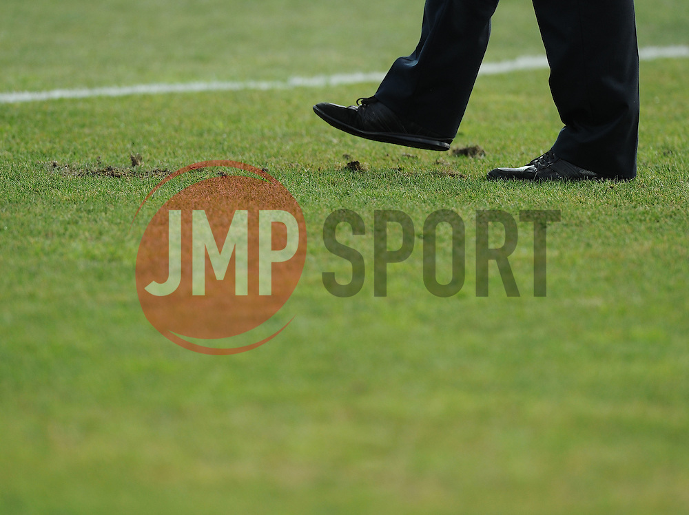 a Uefa official checks the pitch before the game  - Mandatory byline: Joe Meredith/JMP - 07966386802 - 05/09/2015 - FOOTBALL- INTERNATIONAL - San Marino Stadium - Serravalle - San Marino v England - UEFA EURO Qualifers Group Stage