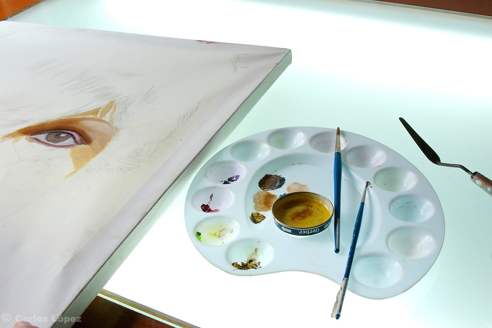 A painting in oils in progress by an art student.