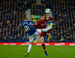 LIVERPOOL, ENGLAND - Sunday, March 3, 2019: Liverpool's Andy Robertson and Everton's Morgan Schneiderlin during the FA Premier League match between Everton FC and Liverpool FC, the 233rd Merseyside Derby, at Goodison Park. (Pic by Laura Malkin/Propaganda)