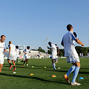 Members of Wilmington Hammerheads FC warm up before their friendly match against Toronto FC Wednesday June 18, 2014 at Legion Stadium in Wilmington, N.C. (Jason A. Frizzelle)