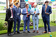 The ITV Racing Team including Jason Weavr, Luke Harvey and guest Johnny Murtagh commentating on the draw for the 2018 Ebor Handicap  during the Yorkshire Ebor Festival, Darley Yorkshire Oaks, at York Racecourse, York, United Kingdom on 23 August 2018. Picture by Mick Atkins.