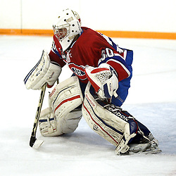 STOUFFVILLE, ON - Jan 2 : Ontario Junior Hockey League Game Action between the Stouffville Spirit Hockey Club and the Toronto Junior Canadians Hockey Club.  Nathaniel Colitto #30 of the Toronto Canadiens Hockey Club during second period game action.<br /> (Photo by Michael DiCarlo / OJHL Images)