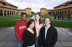Stanford transfer students: (L-R) Tapiwa Mabaye, Carolyn Chiang, Gillian Gentry, Scott Hartley