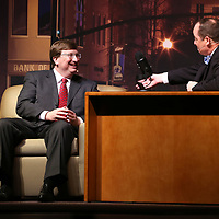 Judd Wilson, Director of Small Business Development for CDF, and host, interviews Tate Reeves, Mississippi Lieutenant Governor, during the Community Development Foundation's 68th Annual Meeting and Report Thursday night at the BancorpSouth Arena in Tupelo.