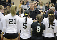 West Point, NY - United States Military Academy Commandant Brigadier General William Rapp talks to Army players after they defeated Lehigh in a match at the Patriot League women's volleyball tournament on  Nov. 21, 2009.