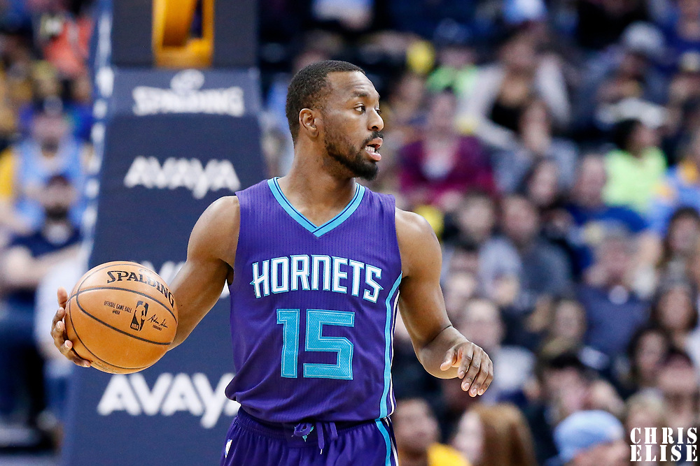 04 March 2017: Charlotte Hornets guard Kemba Walker (15) brings the ball up court during the Charlotte Hornets 112-102 victory over the Denver Nuggets, at the Pepsi Center, Denver, Colorado, USA.