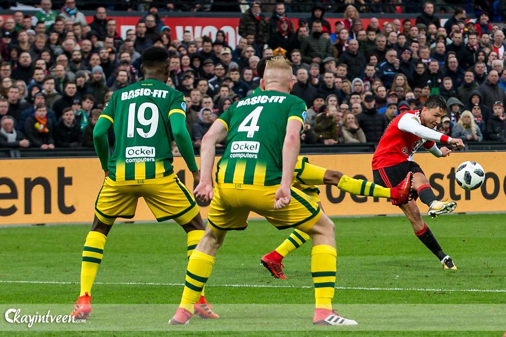 ROTTERDAM - Feyenoord - ADO Den Haag , Voetbal , Seizoen 2017/2018 , Eredivisie , Stadion Feijenoord de Kuip , 28-01-2018 , Feyenoord speler Steven Berghuis scoort de 0-2