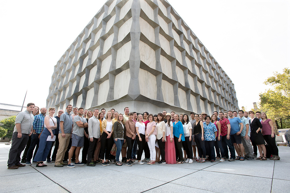Photo by Mara Lavitt<br /> September 12, 2017<br /> Reed Hildebrand employees on Hewitt Quadrangle near the Beinecke Rare Book & Manuscript Library at Yale.