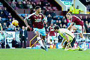 Burnley midfielder Scott Arfield with a shot during the Sky Bet Championship match between Burnley and Brighton and Hove Albion at Turf Moor, Burnley, England on 22 November 2015. Photo by Simon Davies.