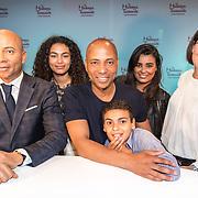 NLD/Amsterdam/20180608 - Onthulling van het wassen beeld Humberto Tan in Madame Tussauds, Humberto Tan met zijn kinderen en partner Ineke