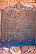Historic plaque at the site of the first public building, Escalante, Utah