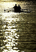18/12/2002.Sport - Rowing.2003 Women's Boat Race.Cambridge Womens Boat Club Trail Eights Henley Reach.Double sculling against the sunset. Sunrise, Sunsets, Silhouettes