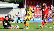 Artur krysiak stops the Crawley attack during the Sky Bet League 2 match between Crawley Town and Yeovil Town at the Checkatrade.com Stadium, Crawley, England on 19 September 2015. Photo by Michael Hulf.