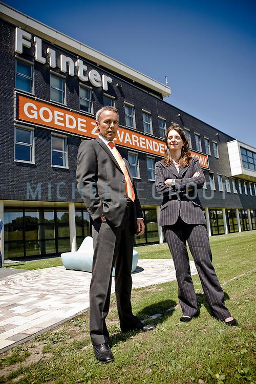 Bart Otto, directeur rederij Flinter en Liesbeth Gouwens, fiscaliste in Barendrecht, Netherlands op 29 May, 2009. (Photo by Michel de Groot)
