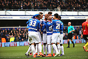 Queens Park Rangers midfielder, Tjaronn Chery (8) celebrating with team mates after scoring opening goal during the Sky Bet Championship match between Queens Park Rangers and Birmingham City at the Loftus Road Stadium, London, England on 27 February 2016. Photo by Matthew Redman.