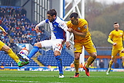 Danny Graham and Bailey Wright battle during the Sky Bet Championship match between Blackburn Rovers and Preston North End at Ewood Park, Blackburn, England on 2 April 2016. Photo by Pete Burns.