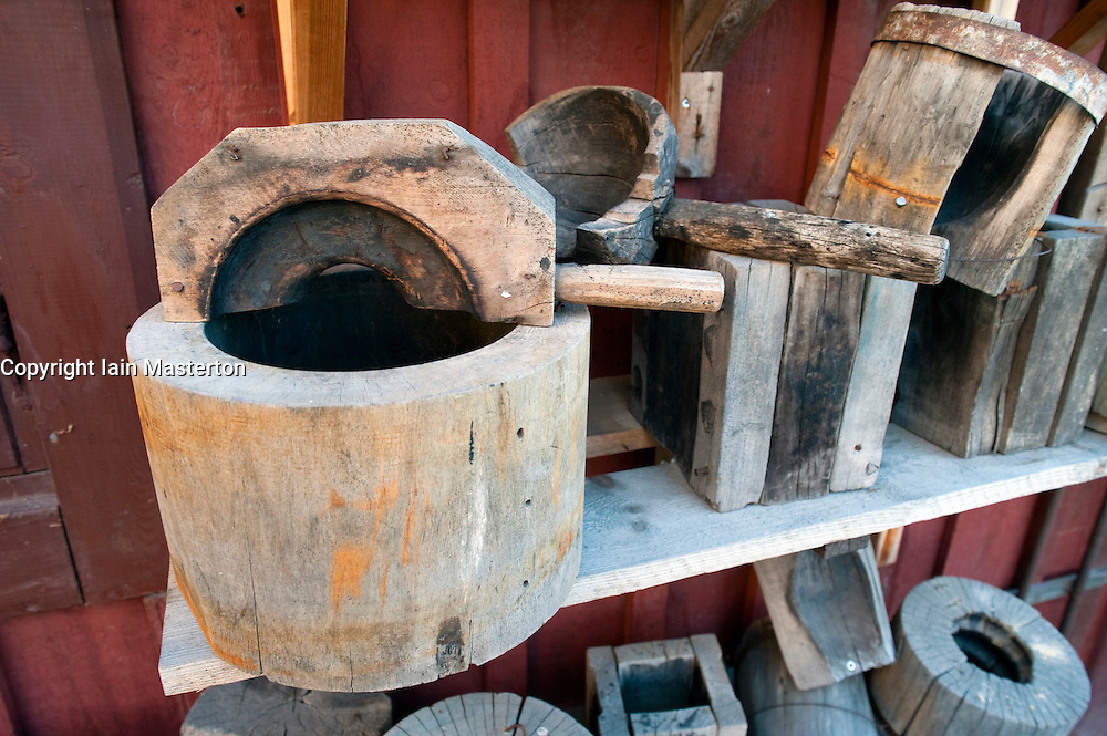 Old wooden moulds for making glass at glassmaking workshop in Skansen open air museum in Stockholm Sweden 2009