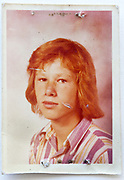 school memory portrait photo of young red haired boy