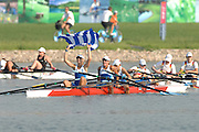 Beijing, CHINA, quad sculls final, Greece with the flag, at  the  2007. FISA Junior World Rowing Championships,  Shunyi Water Sports Complex. 11/08/2007 [Photo, Peter Spurrier/Intersport-images]..... , Rowing Course, Shun Yi Water Complex, Beijing, CHINA,