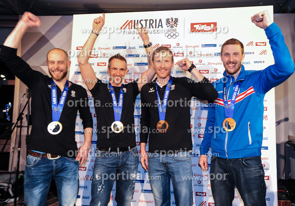 22.02.2014, Austria Tirol House, Sochi, RUS, Sochi 2014, Medaillenfeier, im Bild Bronzemedaillen Gewinner Daniel Mesotitsch, Christoph Sumann, Dominik Landertinger, Simon Eder alle (AUT) // austrian bronze Medalist Daniel Mesotitsch, Christoph Sumann, Dominik Landertinger, Simon Eder during the medal party in Austria house Tyrol at the Olympic Winter Games 'Sochi 2014' at the Austria Tirol House in Krasnaya Polyana, Russia on 2014/02/22. EXPA Pictures © 2014, PhotoCredit: EXPA/ Erich Spiess