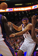 Mar. 19 2010; Phoenix, AZ, USA; Phoenix Suns forward Jared Dudley (3) makes a pss during the first half at the US Airways Center.  The Suns defeated the Jazz 110-100. Mandatory Credit: Jennifer Stewart-US PRESSWIRE.