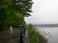 A runner at the central Park Reservoir