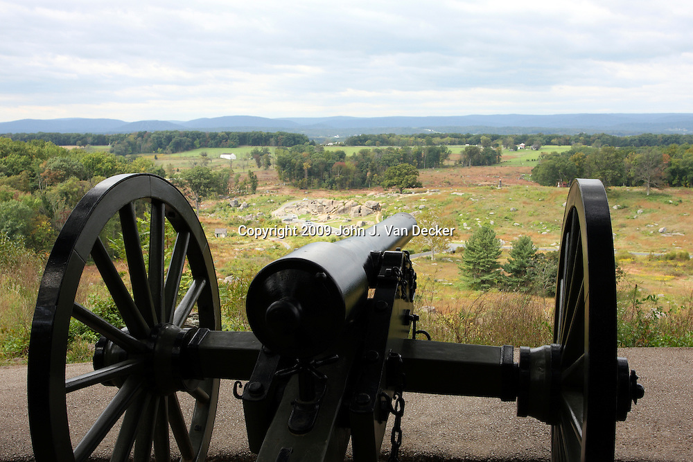 Union Army 10-pounder Parott Rifle cannon on Little Round Top. Devil's Den is at the left of the cannon muzzle. Gettysburg.