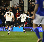 Ross McCormack scoring Fulham's equiliser during the Sky Bet Championship match between Fulham and Ipswich Town at Craven Cottage, London, England on 15 December 2015. Photo by Matthew Redman.
