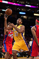 15 January 2010: Forward Ron Artest of the Los Angeles Lakers grabs a rebound against the Los Angeles Clippers during the second half of the Lakers 126-86 victory over the Clippers at the STAPLES Center in Los Angeles, CA.