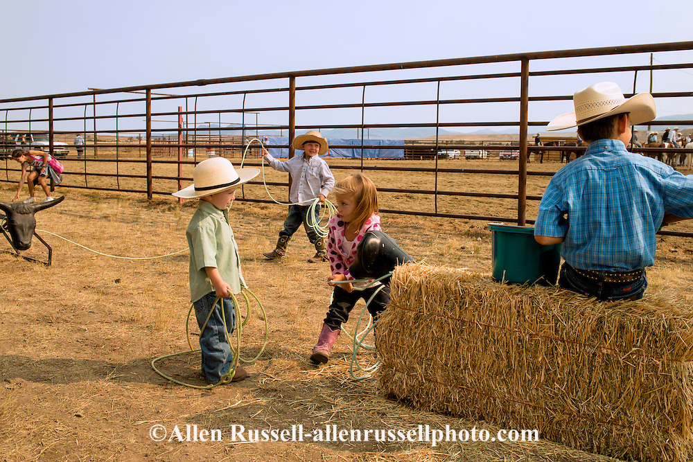 Wilsall Ranch Rodeo, kids dummy roping competition, Wilsall, Montana