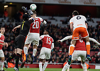 Football - 2018 / 2019 EFL Carabao (League) Cup - Fourth Round: Arsenal vs. Blackpool<br /> <br /> A nervous Petr Cech (Arsenal FC) flaps at a cross as Shkodran Mustafi (Arsenal FC) heads clear at The Emirates.<br /> <br /> COLORSPORT/DANIEL BEARHAM