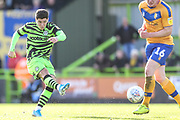 Forest Green Rovers Jack Aitchison(29), on loan from Celtic shoots at goal during the EFL Sky Bet League 2 match between Forest Green Rovers and Mansfield Town at the New Lawn, Forest Green, United Kingdom on 19 October 2019.