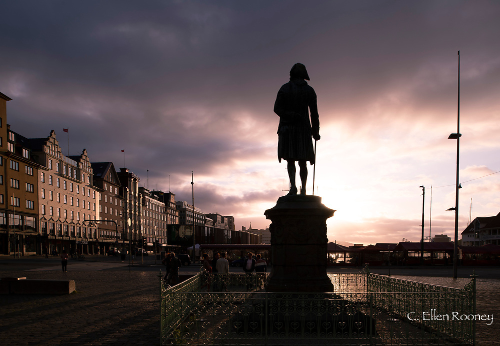 The Holberg Monument at sunset in Bryggen, Bergen, Norway, Europe