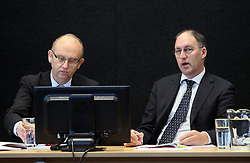 "Dr Clark Hyland, left and Ashley Smith giving evidence at the Royal Earthquake Commission inquiry into the collapse of the CTV building, Christchurch, New Zealand, Monday, July 09, 2012. Credit:SNPA / The Press, Kirk Hargreaves  ""POOL"""""