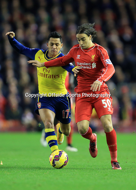 21 December 2014 - Barclays Premier League - Liverpool v Arsenal - Lazar Markovic of Liverpool in action with Alexis Sanchez of Arsenal - Photo: Marc Atkins / Offside.