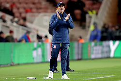 Middlesbrough manager Tony Pulis gestures on the touchline during the Carabao Cup, Fourth Round match at the Riverside Stadium, Middlesbrough.
