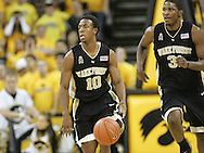 26 NOVEMBER 2007: Wake Forest guard Ishmael Smith (10) and Wake Forest forward Jamie Skeen (31) bring the ball down court in Wake Forest's 56-47 win over Iowa at Carver-Hawkeye Arena in Iowa City, Iowa on November 26, 2007.