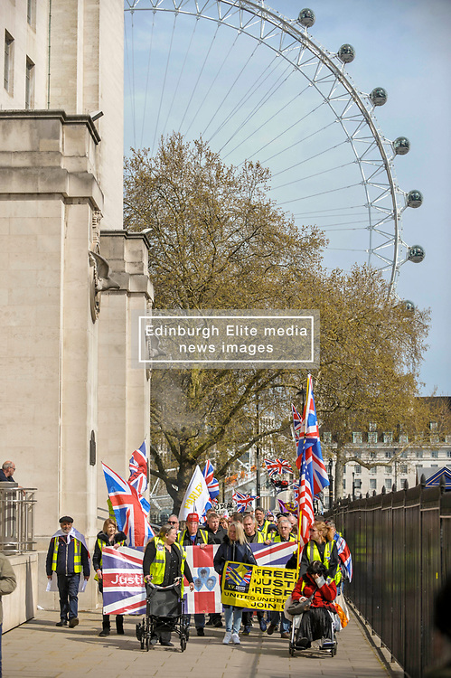 UK yellow vests gathered in Central London to protest against the Government's handling of Brexit.<br /> <br /> Richard Hancox   EEm 13042019