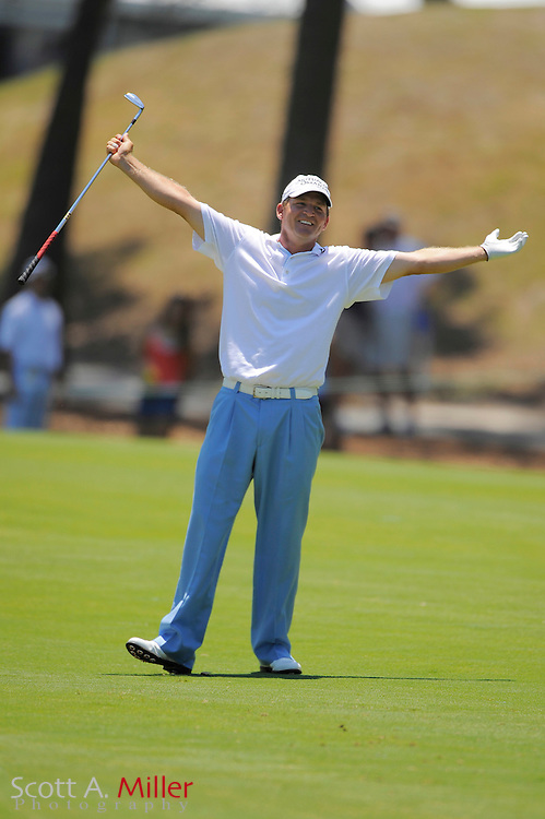Jason Bohn celebrates his eagle on the 15th hole during the third round of the Players at TPC Sawgrass on May 9, 2009 in Ponte Vedra Beach, Florida.     ©2009 Scott A. Miller