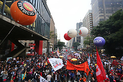 March 22, 2019 - Sao Paulo, Brazil - Protesters make an act against the pension reform of Brazil's president Jair Bolsonaro on avenue Paulista, central region of São Paulo, on Friday. March 22, 2019. (Credit Image: © Fotorua/NurPhoto via ZUMA Press)