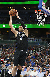 November 14, 2018 - Orlando, FL, USA - The Orlando Magic's Nikola Vucevic pulls down a rebound against the Philadelphia 76ers at the Amway Center in Orlando, Fla., on Wednesday, Nov. 14, 2018. The Magic won, 111-106. (Credit Image: © Stephen M. Dowell/Orlando Sentinel/TNS via ZUMA Wire)