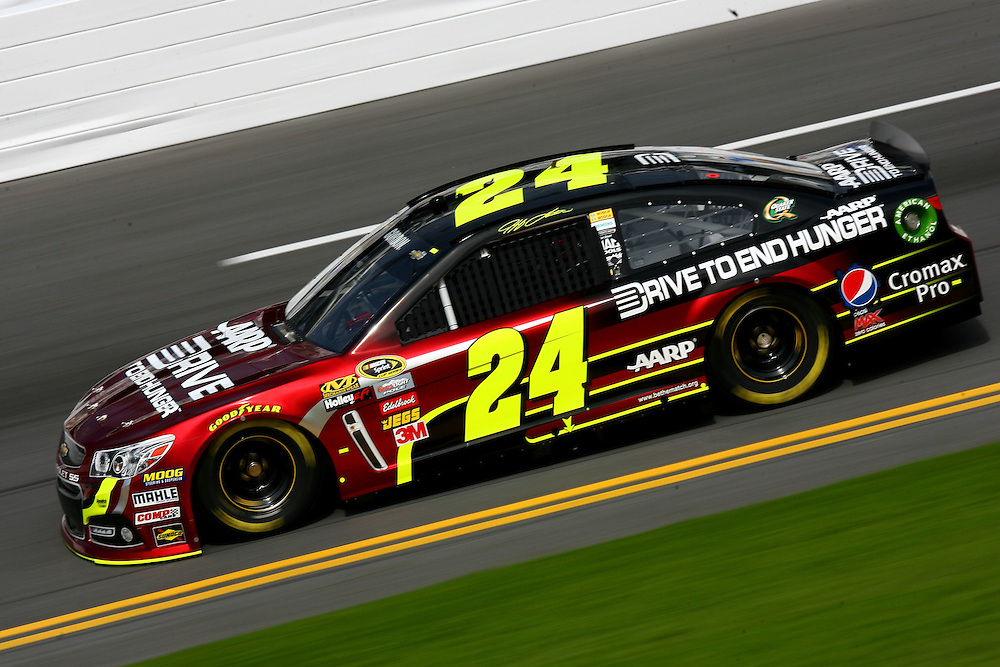 Feb 16, 2013; Daytona Beach, FL, USA; NASCAR Sprint Cup Series driver Jeff Gordon (24) during a practice session for the Daytona 500 at Daytona International Speedway. Mandatory Credit: Douglas Jones-DDJ Sports Imaging
